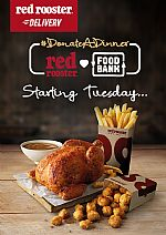 Red Rooster will  #DonateADinner to Foodbank for every dinner delivery order!!!